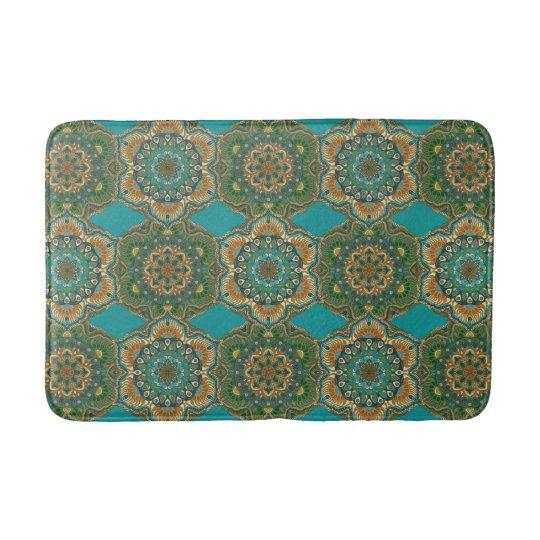 Colourful abstract ethnic floral mandala pattern bath mat