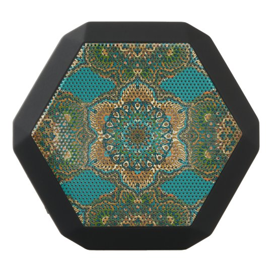 Colourful abstract ethnic floral mandala pattern black bluetooth speaker