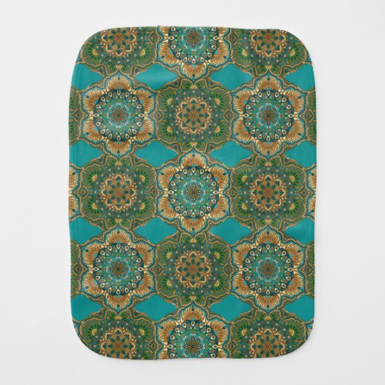 Colourful abstract ethnic floral mandala pattern burp cloth