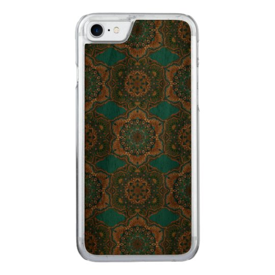 Colourful abstract ethnic floral mandala pattern carved iPhone 8/7 case