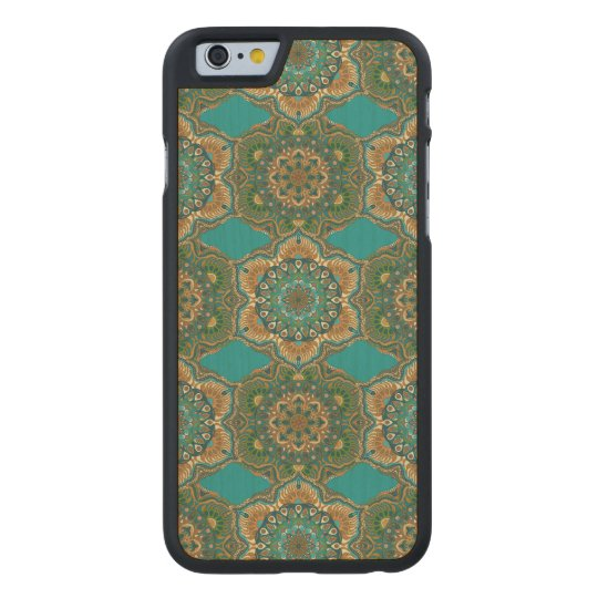 Colourful abstract ethnic floral mandala pattern carved maple iPhone 6 case