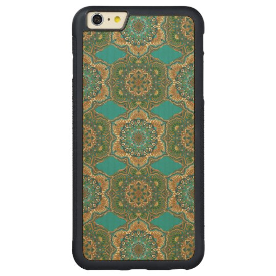 Colourful abstract ethnic floral mandala pattern carved maple iPhone 6 plus bumper case