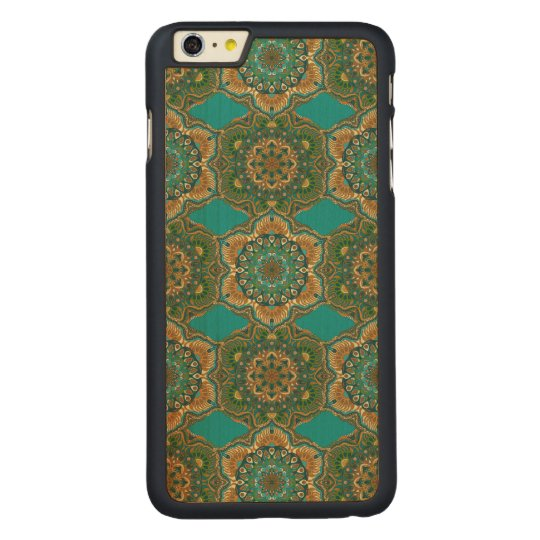 Colourful abstract ethnic floral mandala pattern carved maple iPhone 6 plus case