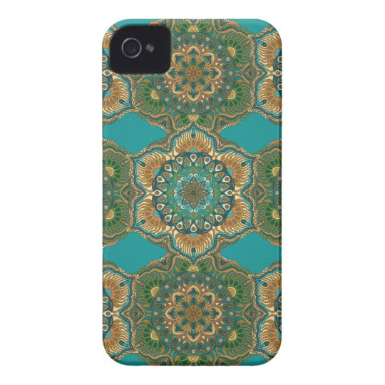 Colourful abstract ethnic floral mandala pattern Case-Mate iPhone 4 case