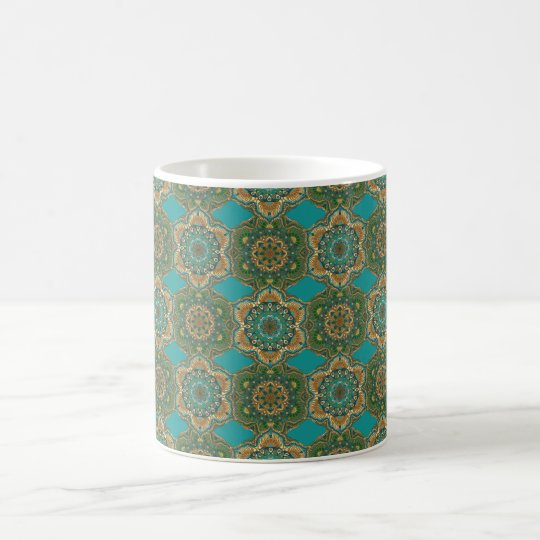 Colourful abstract ethnic floral mandala pattern coffee mug