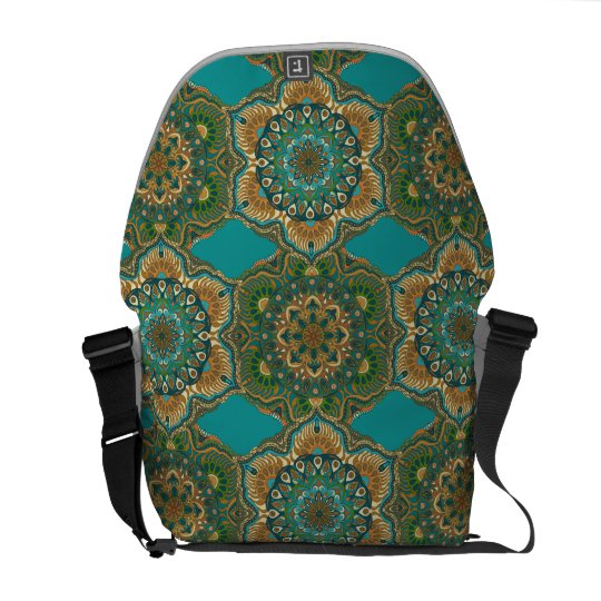 Colourful abstract ethnic floral mandala pattern commuter bag