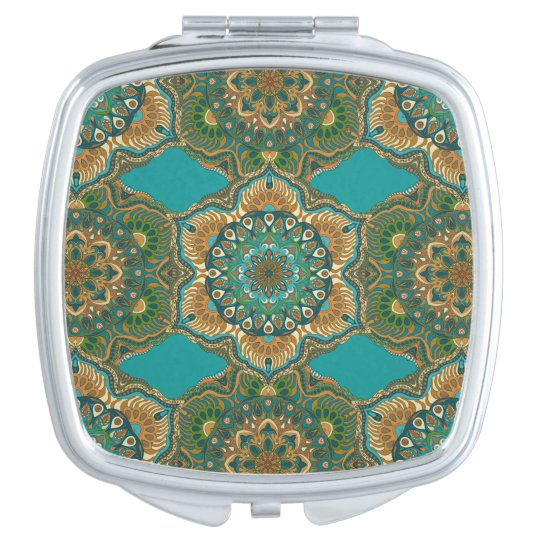 Colourful abstract ethnic floral mandala pattern compact mirror