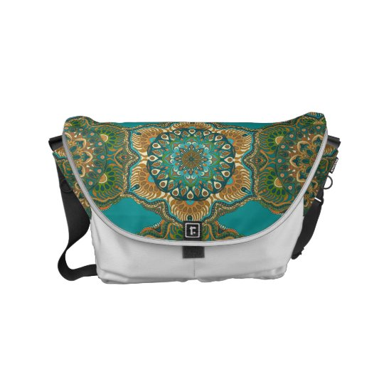 Colourful abstract ethnic floral mandala pattern courier bag