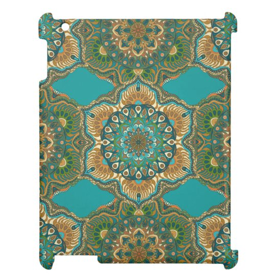 Colourful abstract ethnic floral mandala pattern cover for the iPad