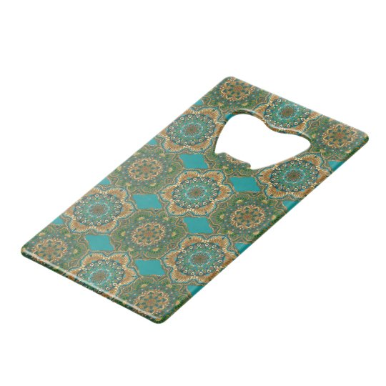 Colourful abstract ethnic floral mandala pattern credit card bottle opener