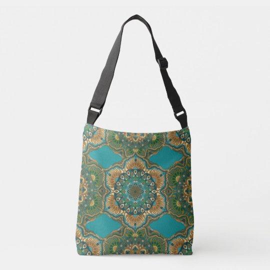 Colourful abstract ethnic floral mandala pattern crossbody bag