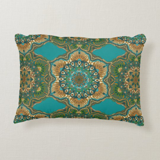 Colourful abstract ethnic floral mandala pattern decorative pillow