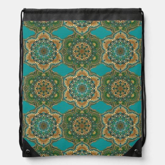 Colourful abstract ethnic floral mandala pattern drawstring bag