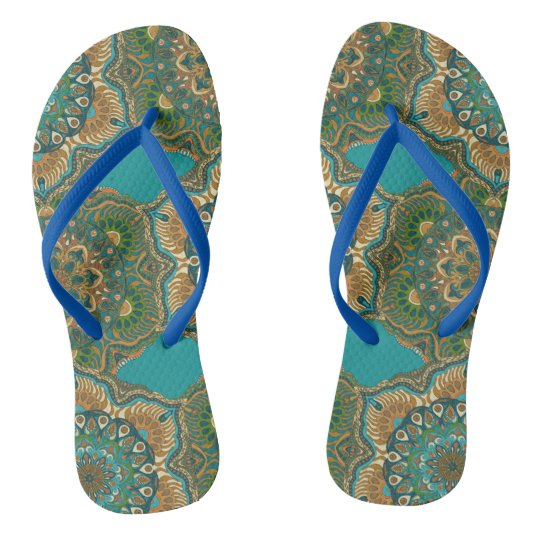 Colourful abstract ethnic floral mandala pattern flip flops