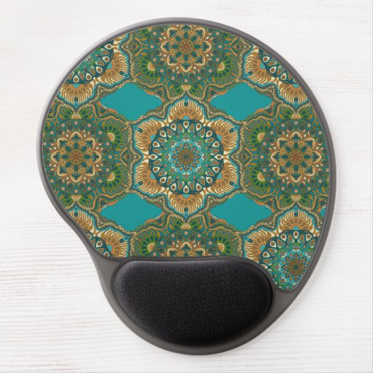 Colourful abstract ethnic floral mandala pattern gel mouse pad