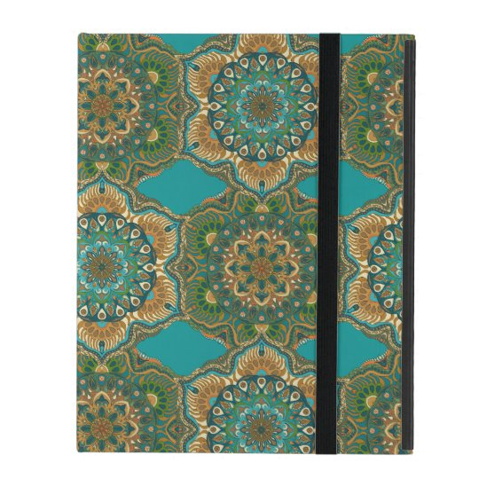 Colourful abstract ethnic floral mandala pattern iPad case