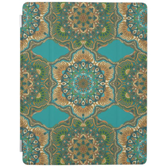 Colourful abstract ethnic floral mandala pattern iPad cover