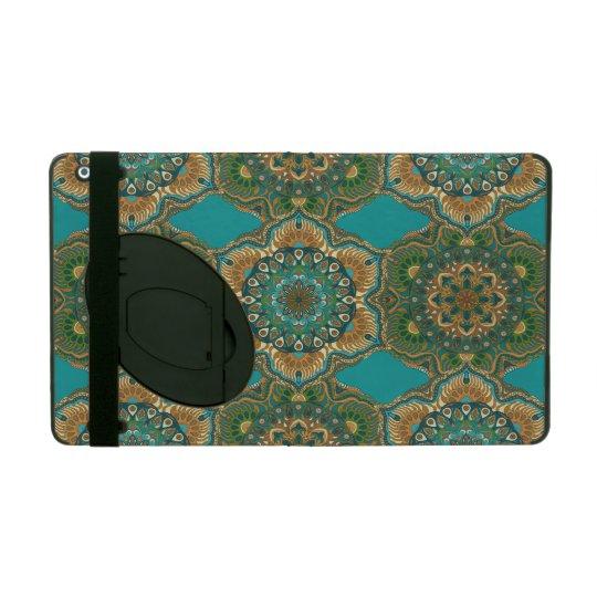 Colourful abstract ethnic floral mandala pattern iPad folio case