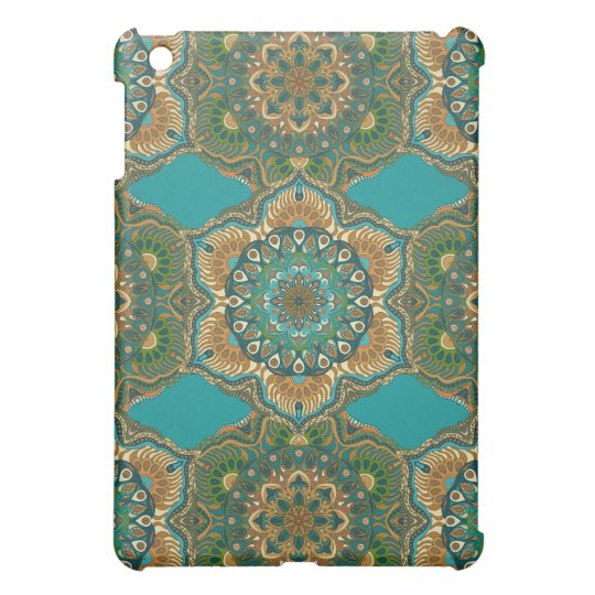 Colourful abstract ethnic floral mandala pattern iPad mini case