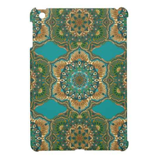 Colourful abstract ethnic floral mandala pattern iPad mini case