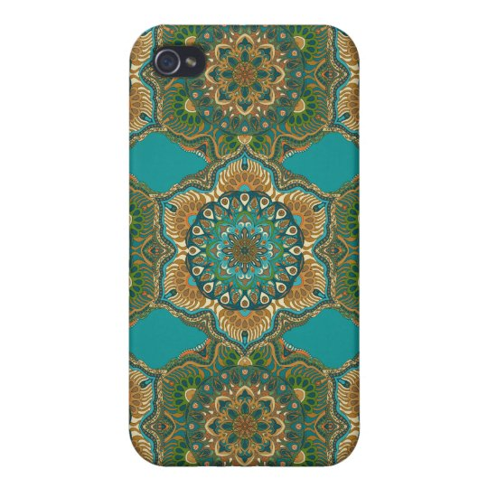 Colourful abstract ethnic floral mandala pattern iPhone 4 cover