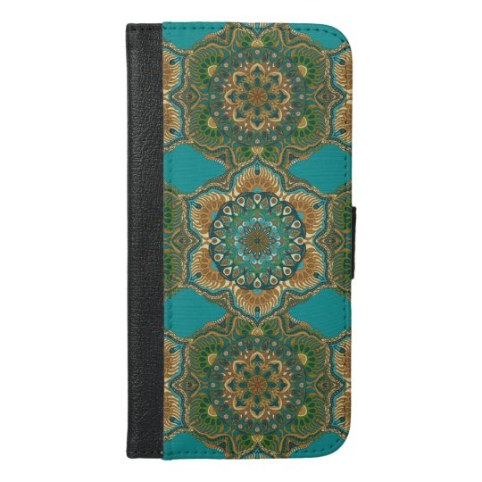 Colourful abstract ethnic floral mandala pattern iPhone 6/6s plus wallet case