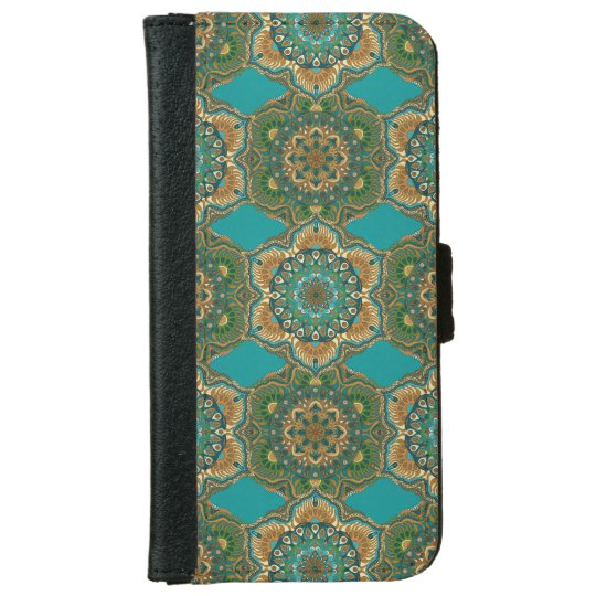 Colourful abstract ethnic floral mandala pattern iPhone 6 wallet case