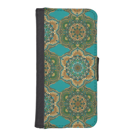 Colourful abstract ethnic floral mandala pattern iPhone SE/5/5s wallet case