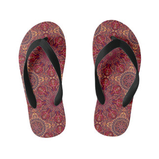 Colourful abstract ethnic floral mandala pattern kid's flip flops