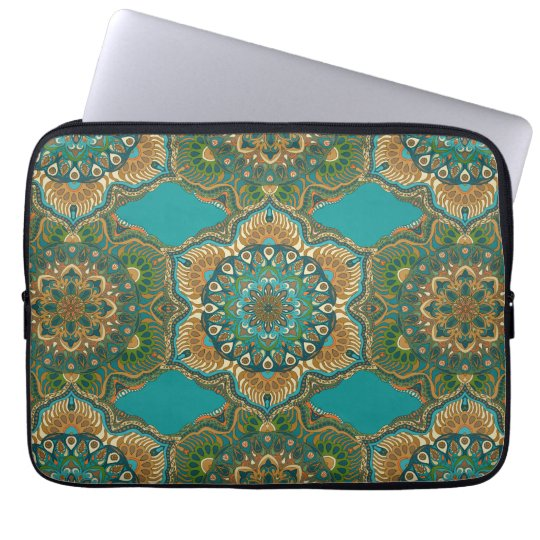 Colourful abstract ethnic floral mandala pattern laptop sleeve