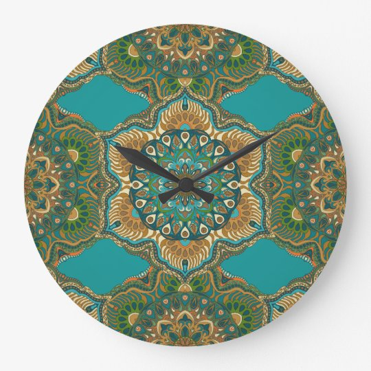 Colourful abstract ethnic floral mandala pattern large clock