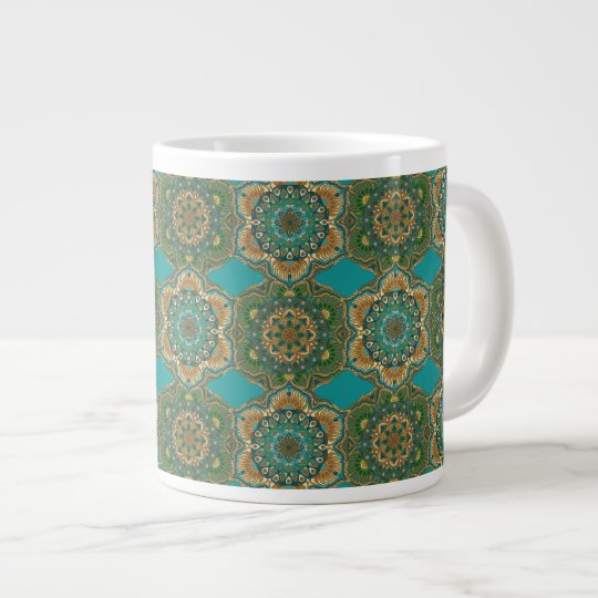 Colourful abstract ethnic floral mandala pattern large coffee mug