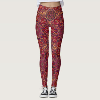 Colourful abstract ethnic floral mandala pattern leggings