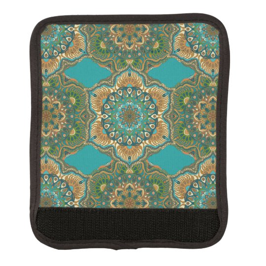 Colourful abstract ethnic floral mandala pattern luggage handle wrap