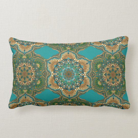 Colourful abstract ethnic floral mandala pattern lumbar pillow