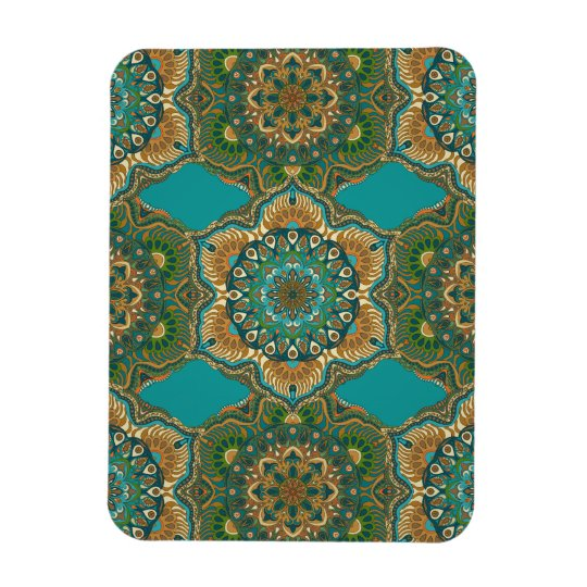 Colourful abstract ethnic floral mandala pattern magnet