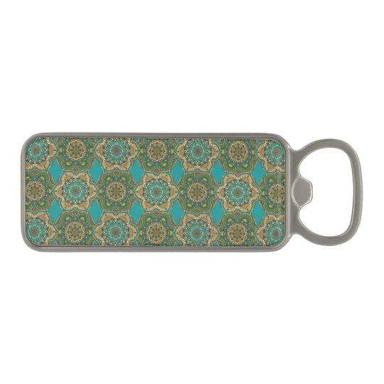 Colourful abstract ethnic floral mandala pattern magnetic bottle opener