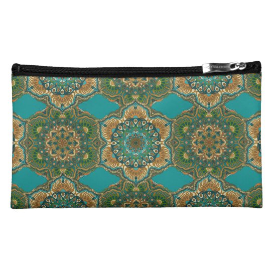 Colourful abstract ethnic floral mandala pattern makeup bag