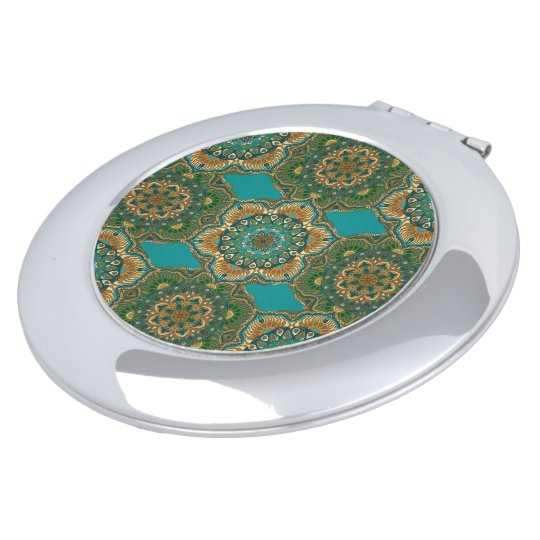 Colourful abstract ethnic floral mandala pattern makeup mirror