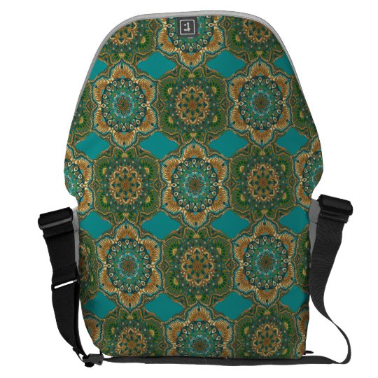 Colourful abstract ethnic floral mandala pattern messenger bag