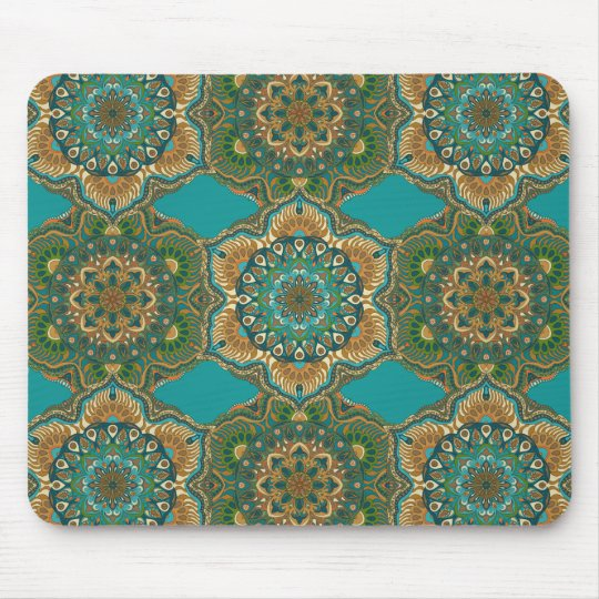 Colourful abstract ethnic floral mandala pattern mouse pad