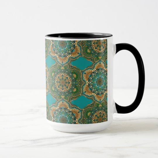 Colourful abstract ethnic floral mandala pattern mug