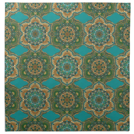 Colourful abstract ethnic floral mandala pattern napkin