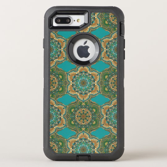 Colourful abstract ethnic floral mandala pattern OtterBox defender iPhone 8 plus/7 plus case