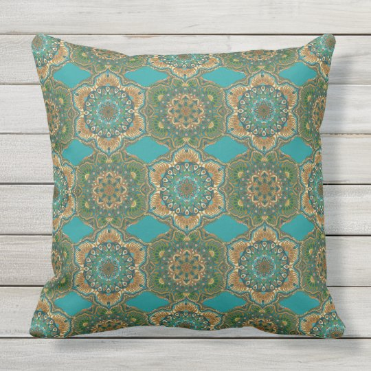 Colourful abstract ethnic floral mandala pattern outdoor pillow