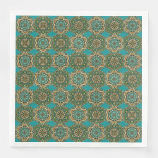 Colourful abstract ethnic floral mandala pattern paper dinner napkin