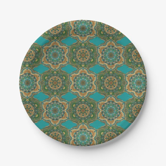 Colourful abstract ethnic floral mandala pattern paper plate