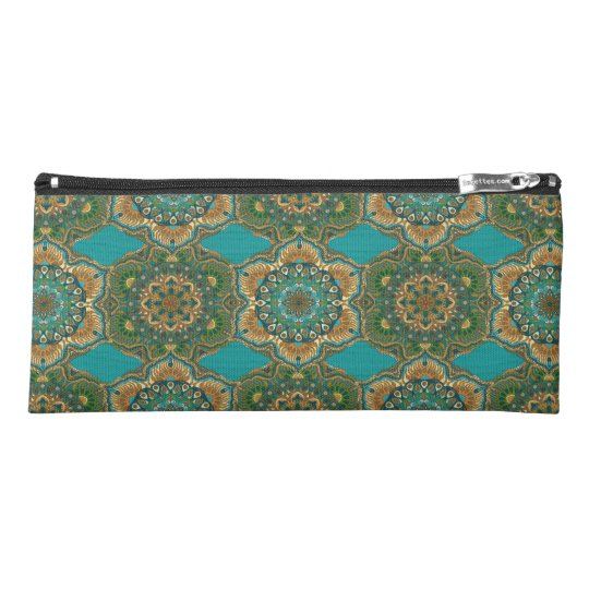 Colourful abstract ethnic floral mandala pattern pencil case