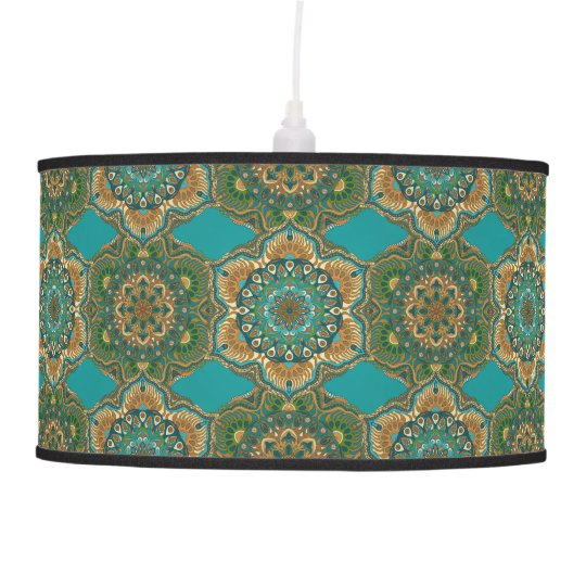 Colourful abstract ethnic floral mandala pattern pendant lamp