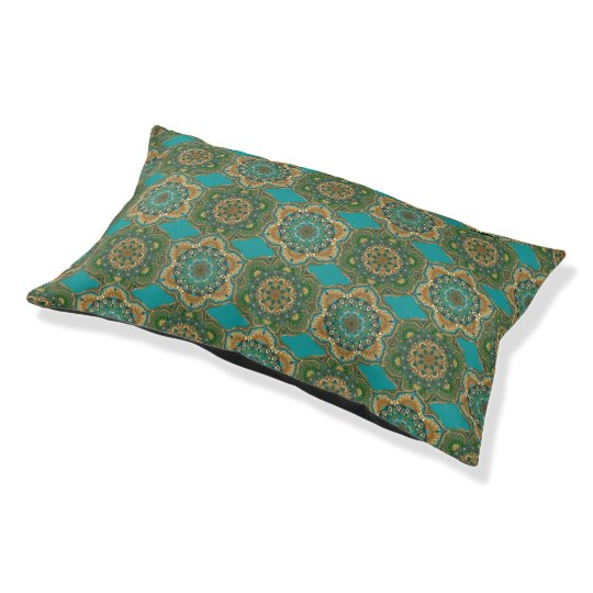 Colourful abstract ethnic floral mandala pattern pet bed